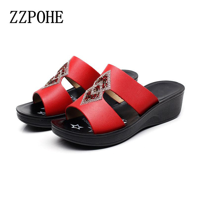 2017 summer new ladies slippers fashion beach mother flat with