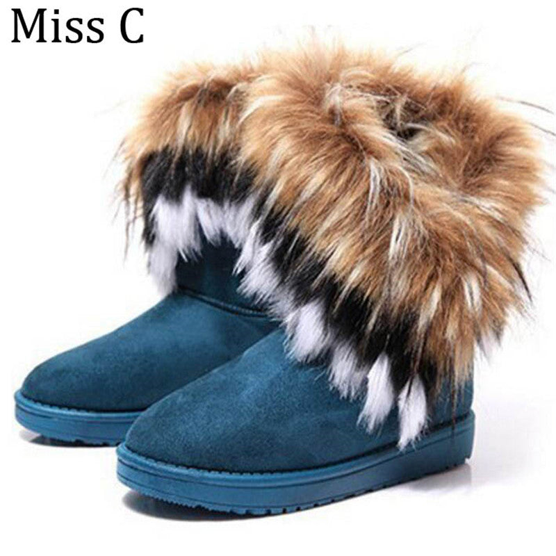 Women Snow Boots Warm Winter Shoes Fake Fox Fur Ankle Boots 2017 Hot