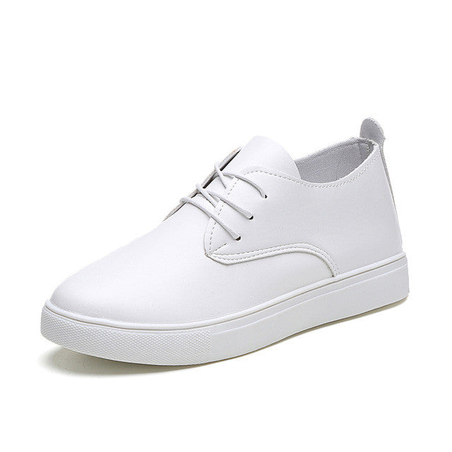 AD AcolorDay Fashion Luxury Brand White Shoes Lace Up Round Toe