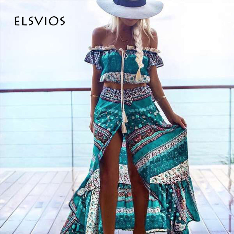 ELSVIOS 2017 Floral Printed Women Long Dress Sexy Side Split Two Piece