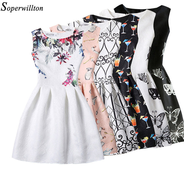 New 2017 Women Summer Dress Butterfly Sleeveless Casual Dresses