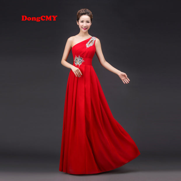 2017 spring red long design one shoulder vestido longo plus size