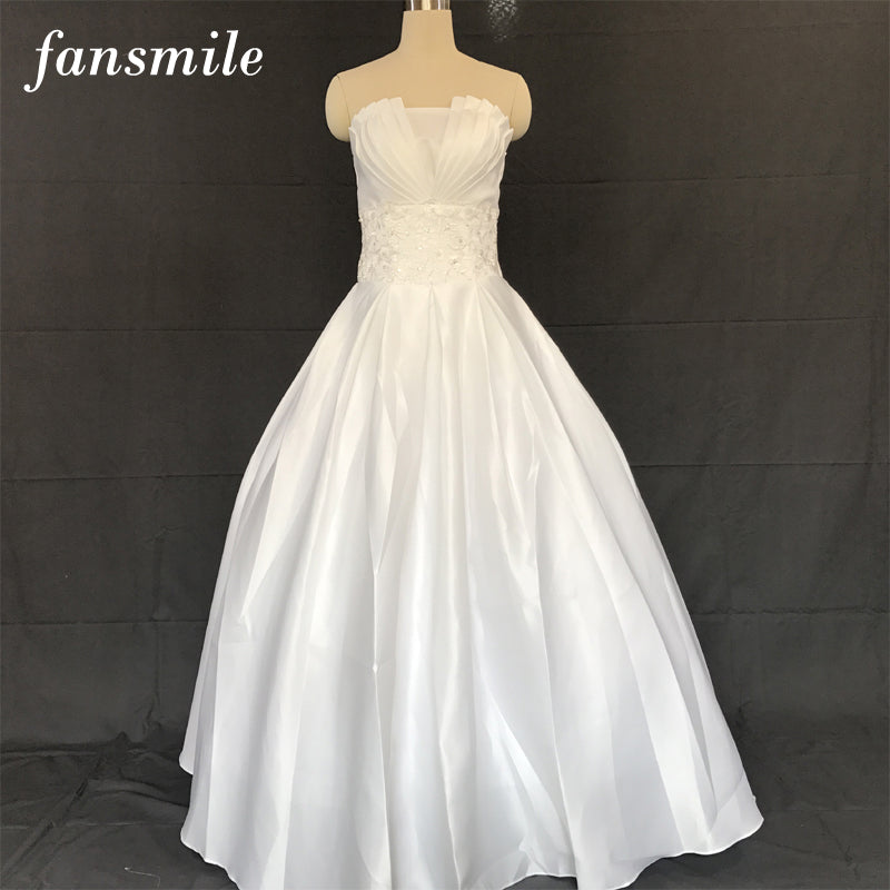 Fansmile Cheap Satin Vintage Lace Up Wedding Dresses 2016 Sexy Plus