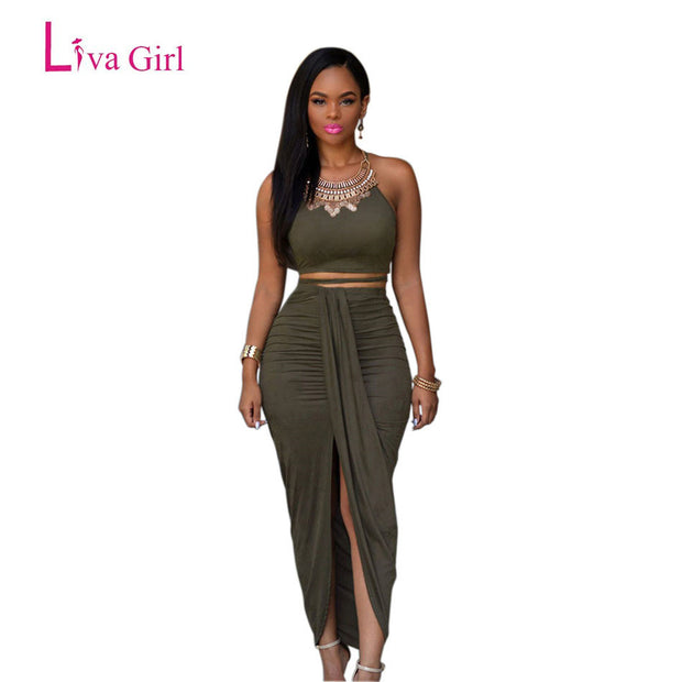 Liva Girl 2017 Front Opening Long Summer Maxi Dress Olive Green