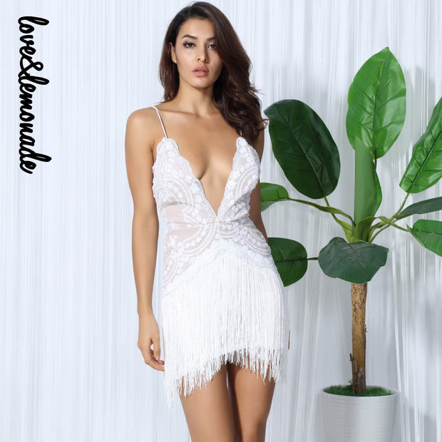 Love&Lemonade Sexy White Flower Vines Sequined V Collar Exposed Tassel