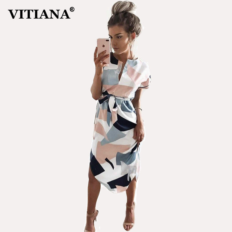 VITIANA 2017 Women Summer Casual Dresses Girls Pencil Knee-Length