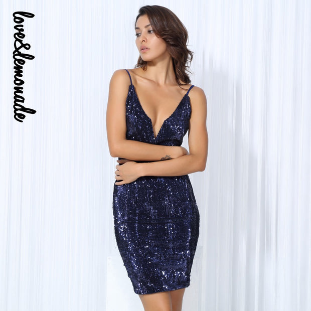 Love&Lemonade Sexy Dark Blue V-Neck Elastic Sequins Halter Bodycon