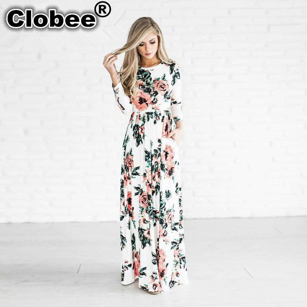 Clobee 2017 Women Spring Boho Clothing Girls White Black Print Long