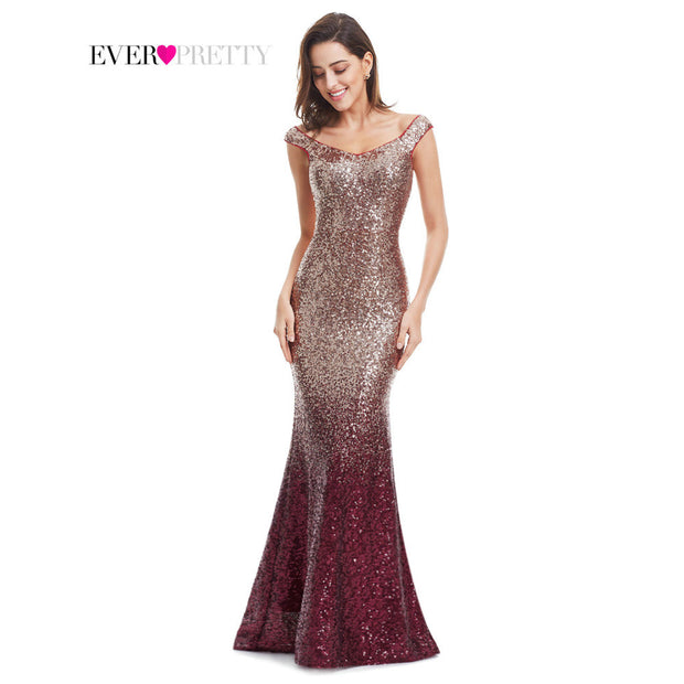 Evening Dress Long Sparkle Ever-Pretty 2017 New V-Neck Women Elegant