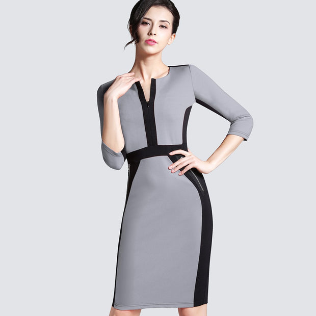 Plus Size Women Autumn Work Office Business Colorblock Pencil Dress