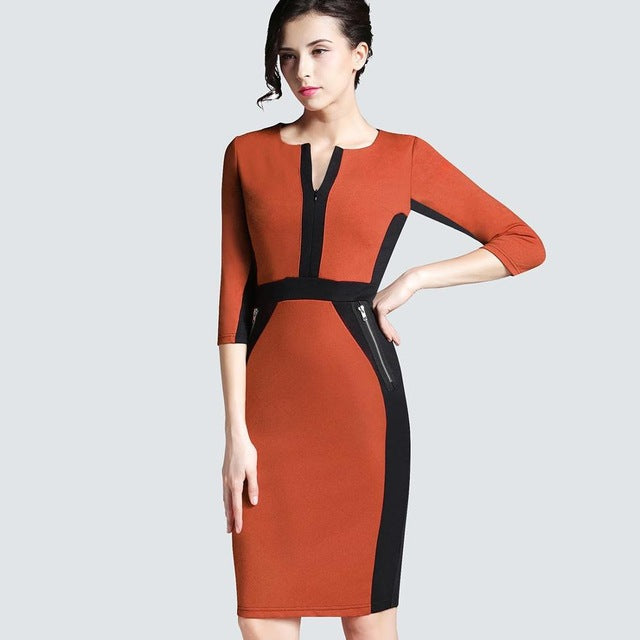 Plus Size Women Autumn Work Office Business Colorblock Pencil Dress ... 8f0b57c8551f