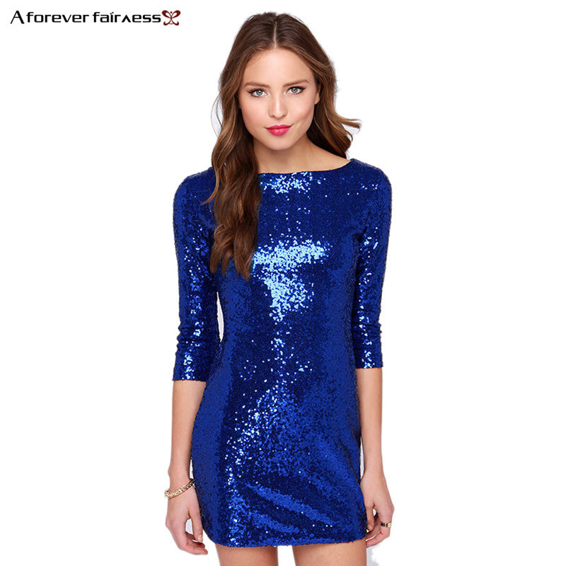 AForever Summer Style Women Dress Slim Mini Sparkling Sequins