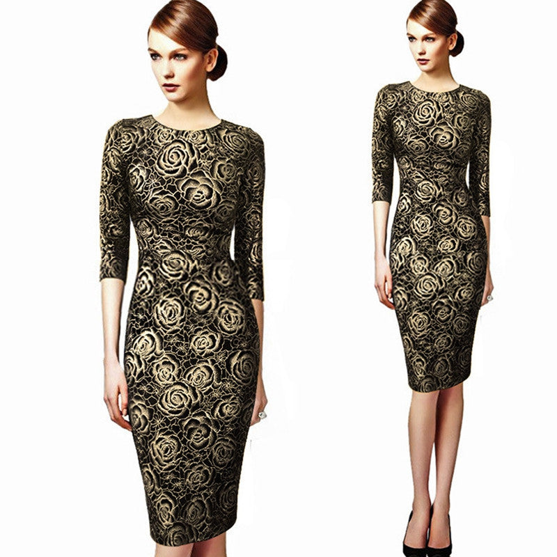 Ladies Elegant Vintage Retro Floral Rose Flower Dress Pencil Women