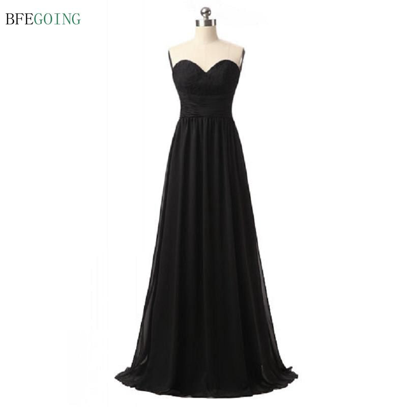 Black Floor-length  Bridesmaid Dress Sweetheart Top Lace Pleat Chiffon