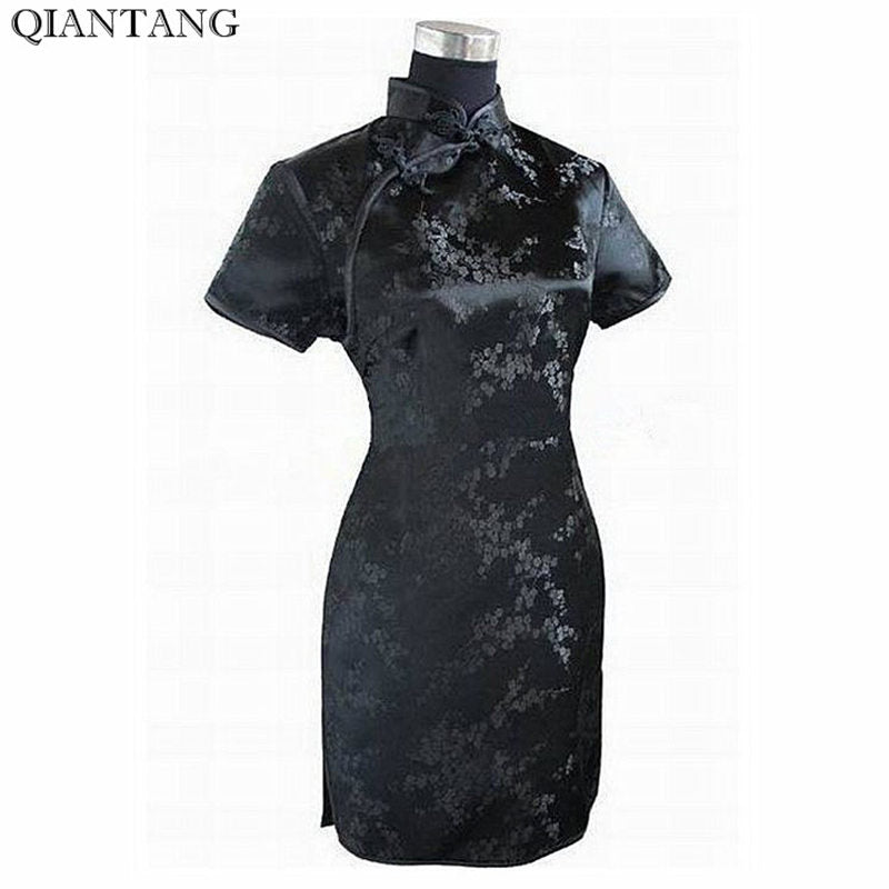 Black Traditional Chinese Dress Mujer Vestido Women's Satin Qipao Mini