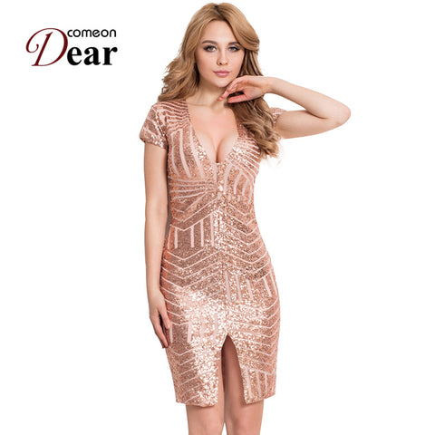 Comeondear Hot Sale Women Bodycon Dress V-neck Knee Length Sexy Club Dress RB80202 2017 Rose Gold Nude Midi Sequin Dress