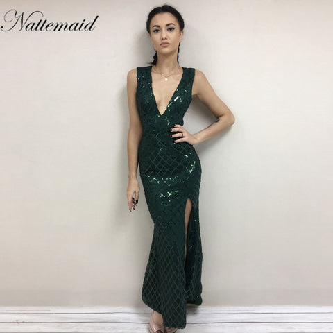 NATTEMAID Women V-Neck Sleeveless Split Sequin Dress Autumn Ladies Slim Bohimian Long Maxi Dress Gold Green Backless Vestidos