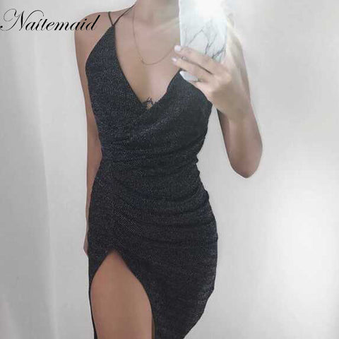 NATTEMAID Sexy sleeveless V-neck halter sequin bodycon dress women party night wear dancing dresses silver sequined vestidos