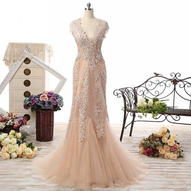 Champagne Romantic Beach Dresses V- Neck Cap Sleeves Bridal Wedding