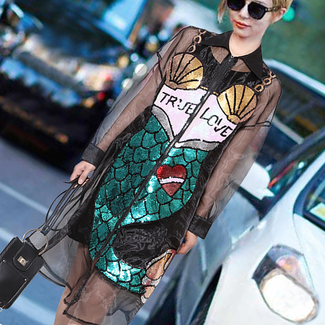 2017 Sequin Mermaid Dress Summer Women Sexy Street Fashion Dress Black