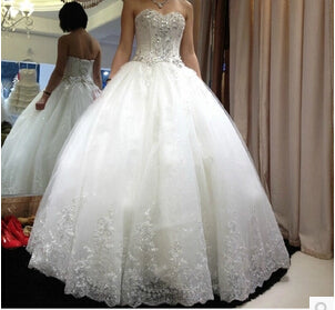 Fansmile Luxury Crystal Rhinestone Lace Up Long Train Ball Wedding