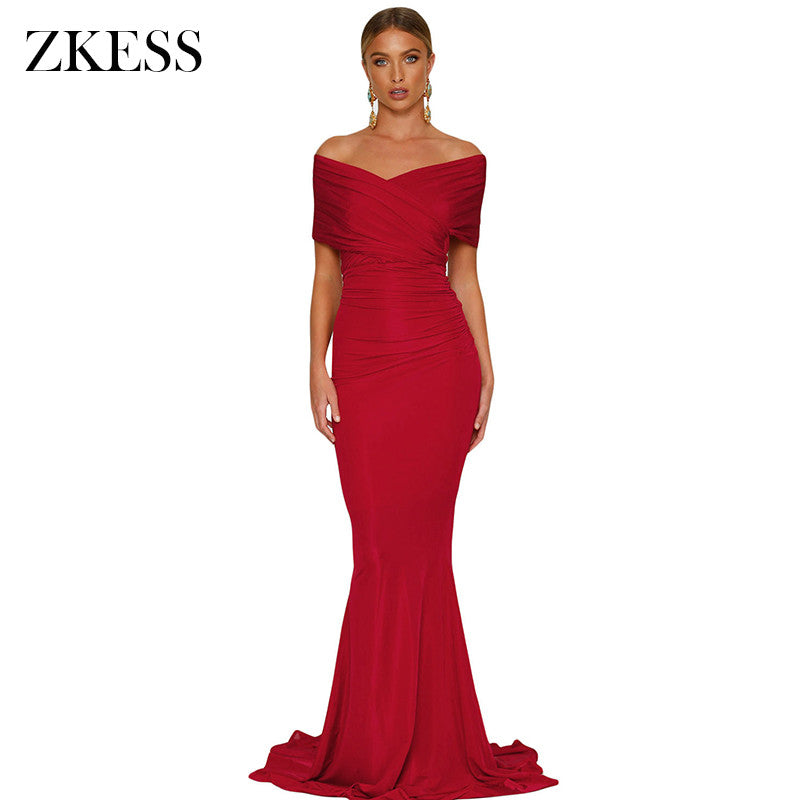 Zkess Women Off Shoulder Maxi Dress Elegant Rushed Bodycon Long