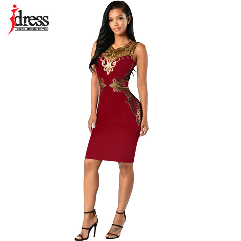 IDress Sexy Club Bandage Dress 2017 Elegant Knee Length Midi Pencil