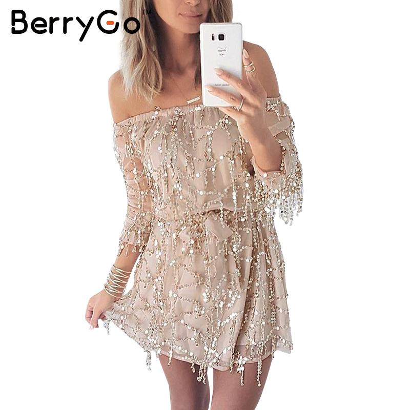 BerryGo Sexy off shoulder sequin tassel summer dress beach party short