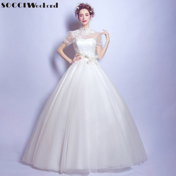 SOCCI Weekend 2017 Vintage Wedding Dress high neck vestidos de noiva