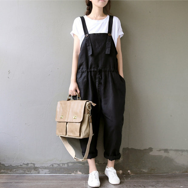 2017 Summer Cotton Linen Overalls Women Plus Size Suspenders Harem