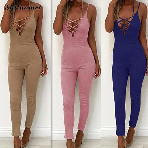 Casual New Style 2017 Hollow Out Solid Color Romper Playsuit V-Neck Sleeveless Bodycon Bandage Backless Rompers Womens Jumpsuit