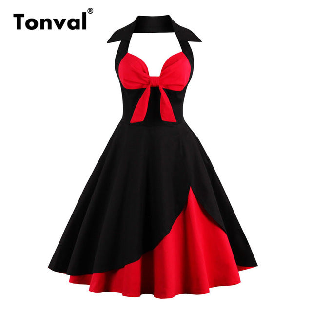 Tonval Vintage Bow Sexy Halter Party Dresses Women Floral Rockabilly