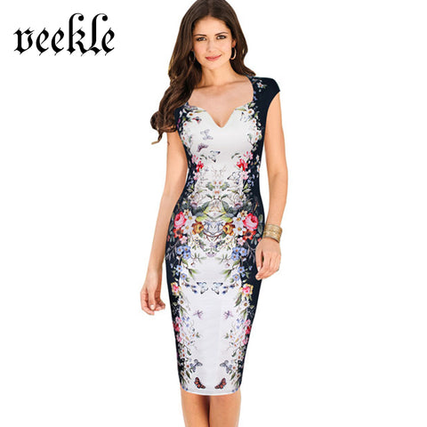 VEEKLE Summer Women Casual Sheath Pencil Dress Rose Floral Print Flower Pattern Bodycon Slim Sexy V-Neck Tank White Blue Pink