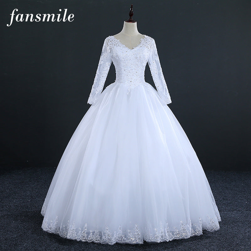 Fansmile Real Photo Vintage Lace Up Ball Wedding Dress Long Sleeve