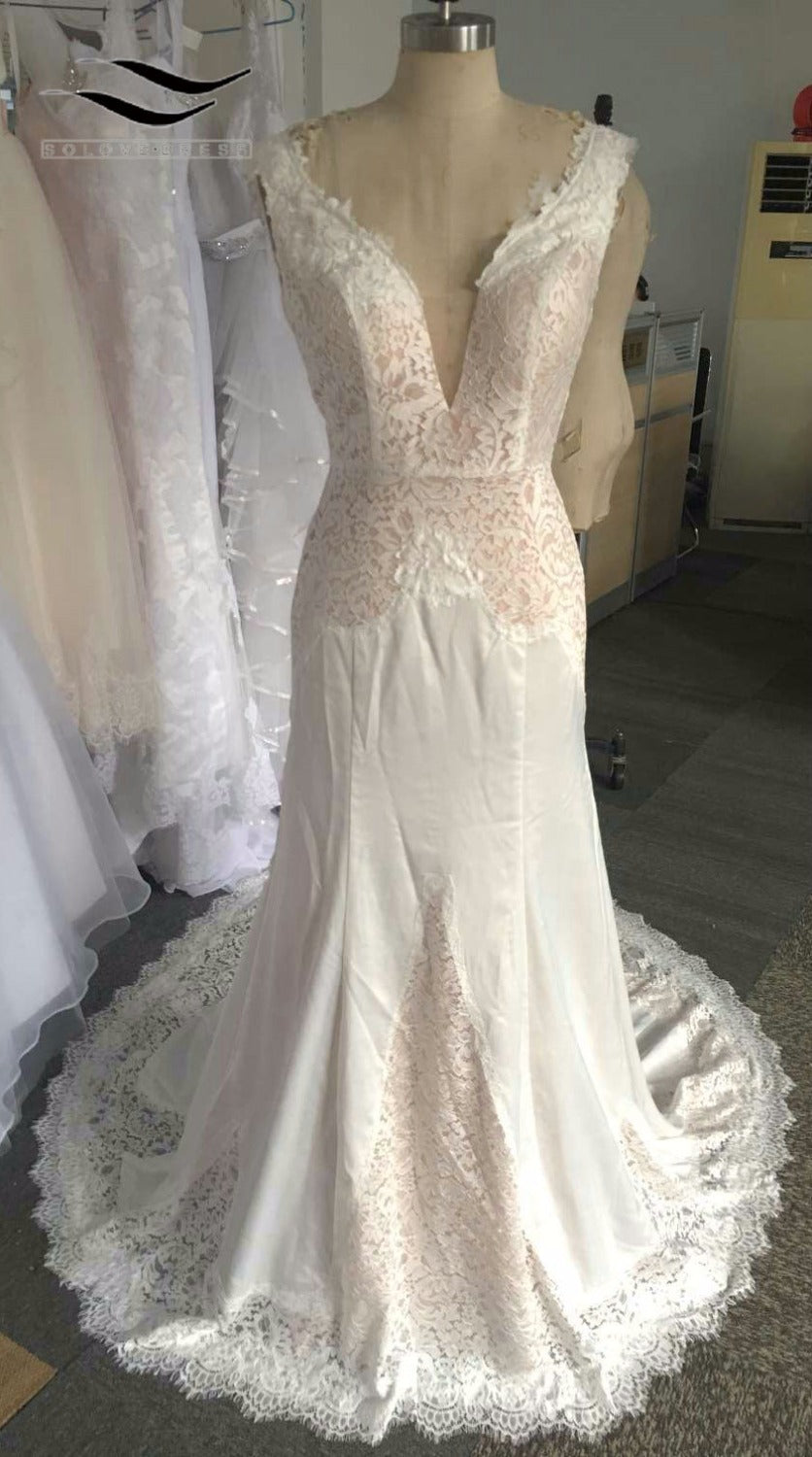 2017 White or Ivory Ruched Lace Mermaid Wedding Dress  High Quality