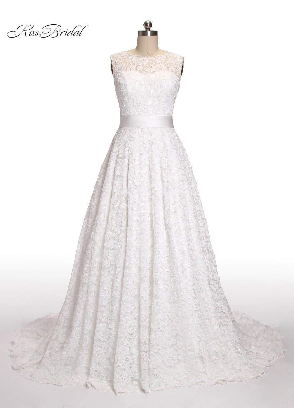 Elegant A-Line Wedding Dresses Scoop Neck Sleeveless Lace Up Back Lace