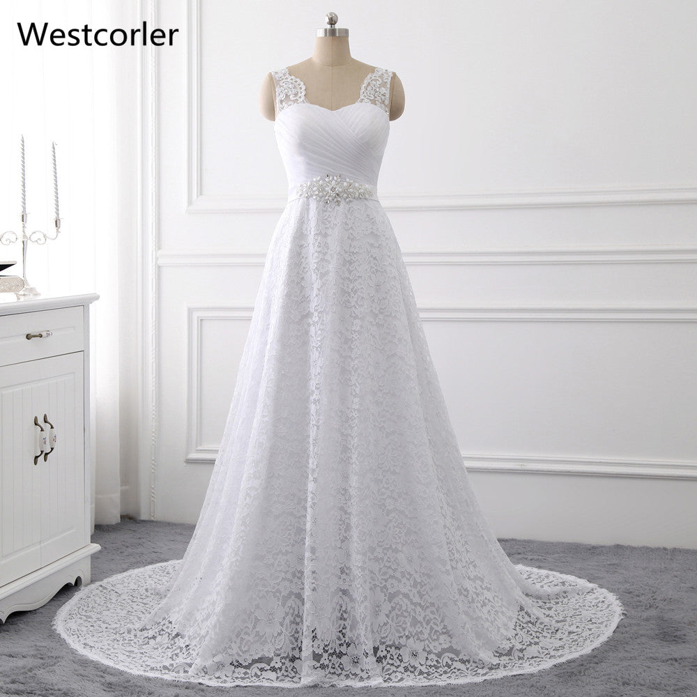 2017 Westcorler A-Line Lace Beach Wedding Dress Sleeveless Crystal