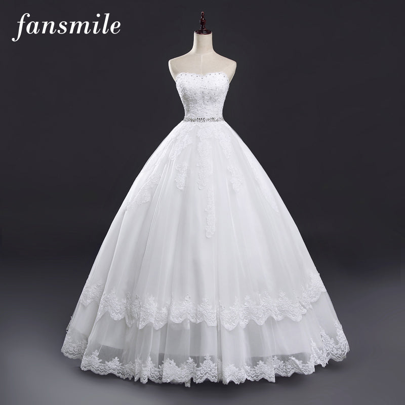 Fansmile Sexy Strapless Vintage Lace Up Ball Wedding Dresses 2017 Real