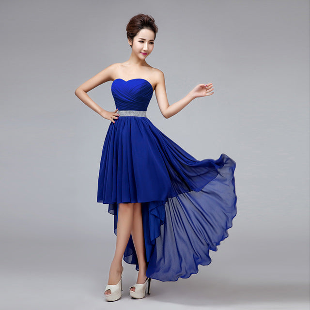 Bridesmaid Dresses 2017 SSYFashion Women's Sexy Strapless Asymmetrical