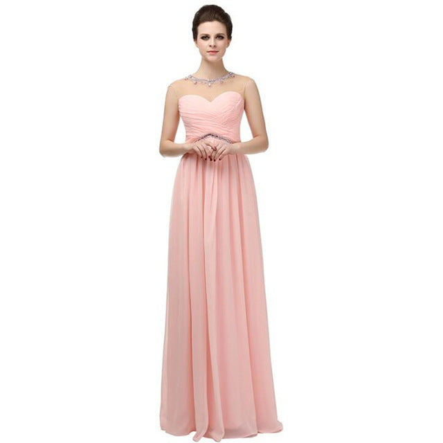 Elegant Bridesmaid Dresses A Line Sheer O Neck Beaded Crystal