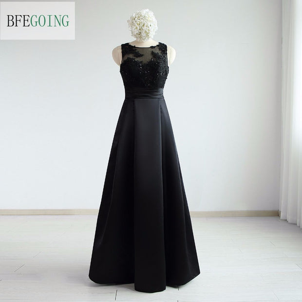 Black Satin Sleeveless A-line Formal Bridesmaid Dress Floor-length