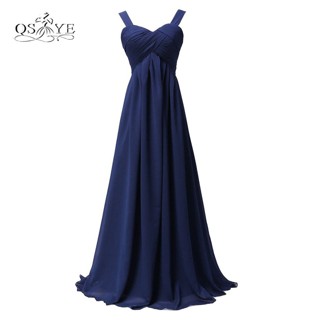 Navy Blue Cheap Long Bridesmaid Dresses A-line Spaghetti Straps