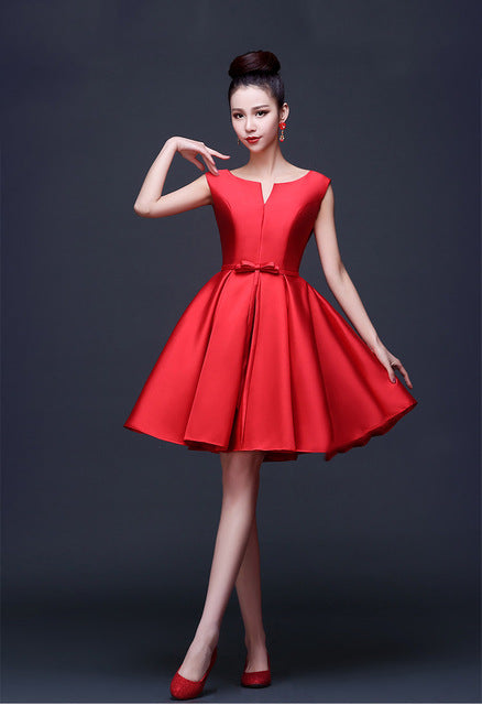 2016 Hot Sale Knee Length Gown Red Satin A Line Bridesmaid Dress