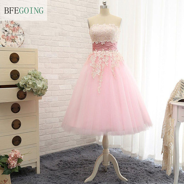 Pink Tulle Lace A-line Formal Bridesmaid Dresses Strapless  Lace up