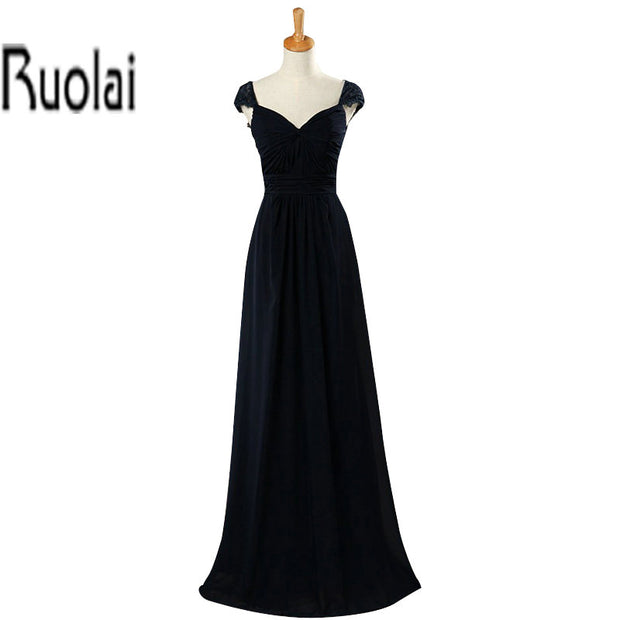 Navy Blue Lace Cap Sleeves A Line Chiffon Simple Floor Length Long