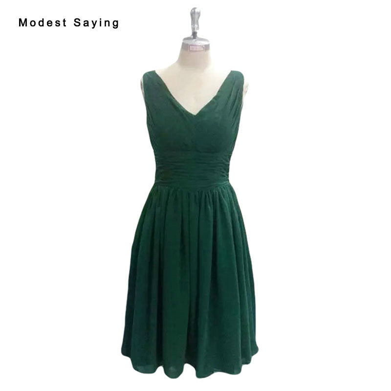 Real Emerald Green Elegant A-Line Short Pleat Bridesmaid Dress 2017