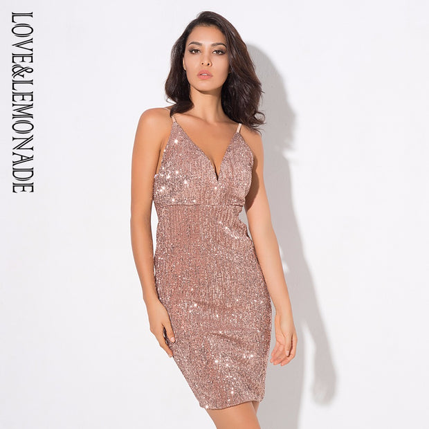 Love&Lemonade  Sexy Deep V-Neck Rose Gold Elastic Sequins Halter Dress