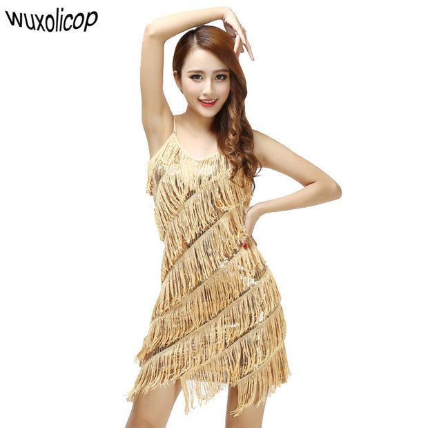 Woman vestido de festa flapper fringe 1920s gold vintage great