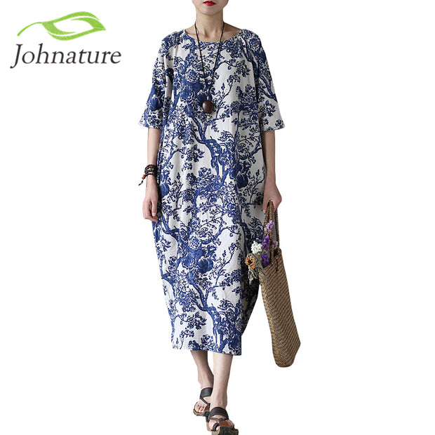 Johnature Cotton Linen Vintage Flower Pint Women Fall Dress Half