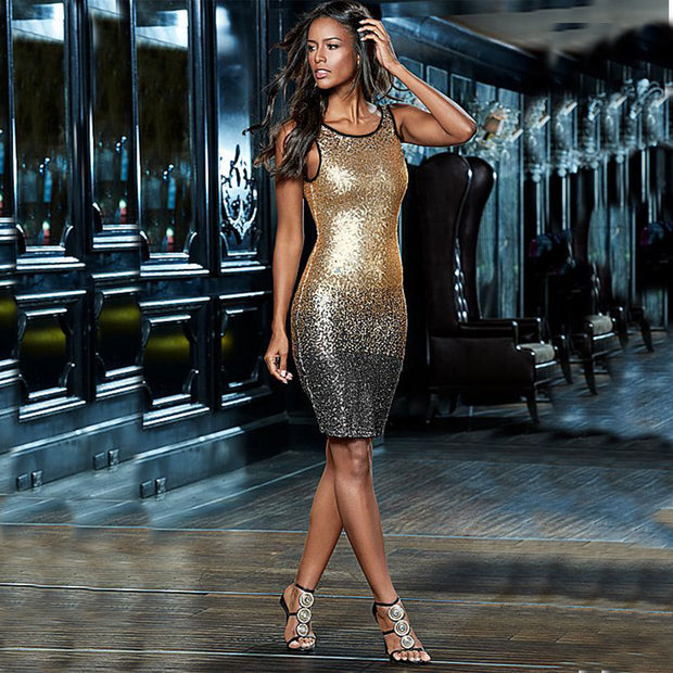 New Hot Women Summer Party Sexy O-Neck Backless Gold Sequin Dress